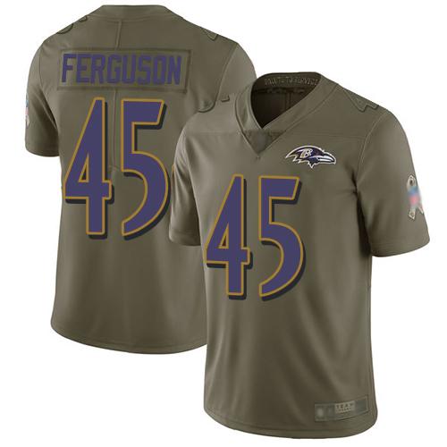 Ravens #45 Jaylon Ferguson Olive Men's Stitched Football Limited 2017 Salute To Service Jersey