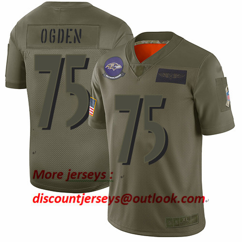 Ravens #75 Jonathan Ogden Camo Men's Stitched Football Limited 2019 Salute To Service Jersey
