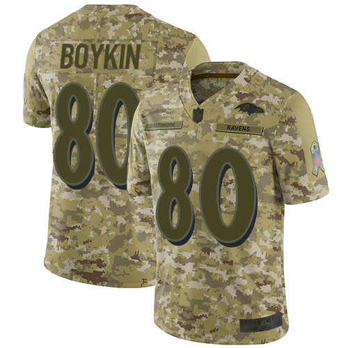Ravens #80 Miles Boykin Camo Men's Stitched Football Limited 2018 Salute To Service Jersey