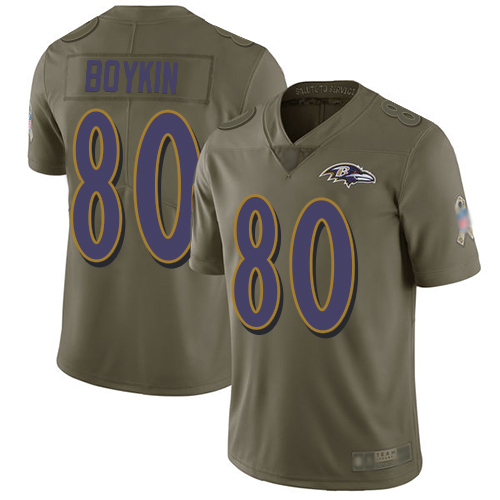 Ravens #80 Miles Boykin Olive Men's Stitched Football Limited 2017 Salute To Service Jersey