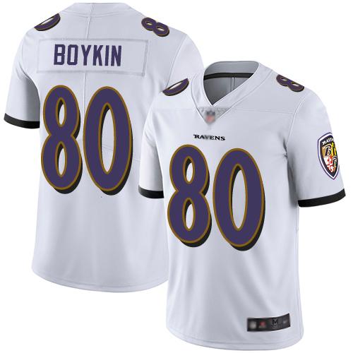 Ravens #80 Miles Boykin White Men's Stitched Football Vapor Untouchable Limited Jersey