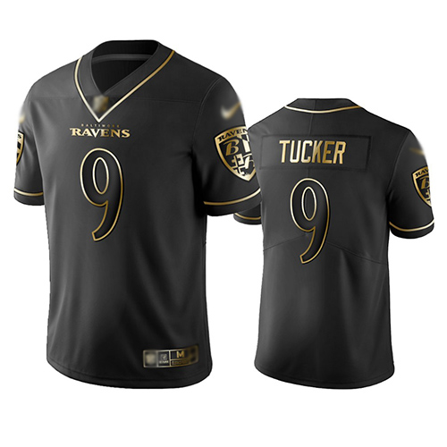 Ravens #9 Justin Tucker Black Men's Stitched Football Limited Golden Edition Jersey
