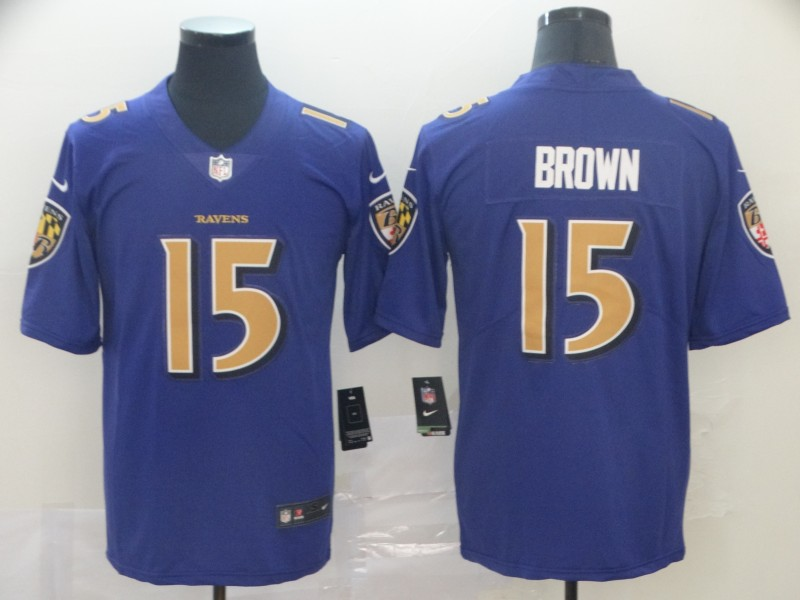 Ravens 15 Marquise Brown Purple Color Rush Limited Jersey