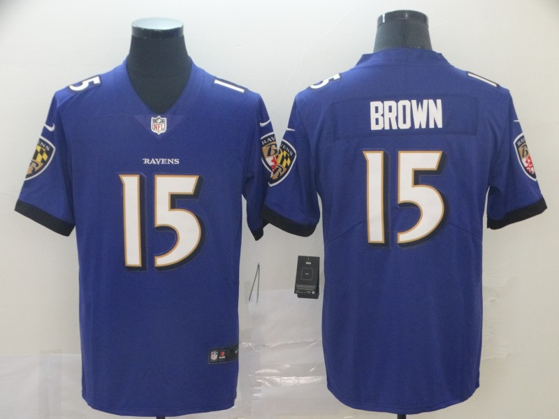 Ravens 15 Marquise Brown Purple Vapor Untouchable Limited Jersey