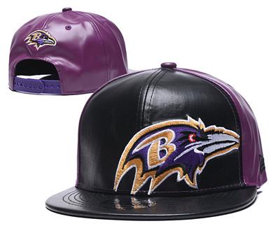 Ravens Team Logo Black Purple Leather Adjustable Hat GS