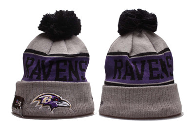 Ravens Team Logo Gray Red Pom Knit Hat YP