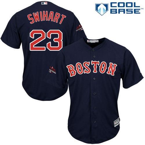 Red Sox #23 Blake Swihart Navy Blue Cool Base 2018 World Series Champions Stitched Youth MLB Jersey