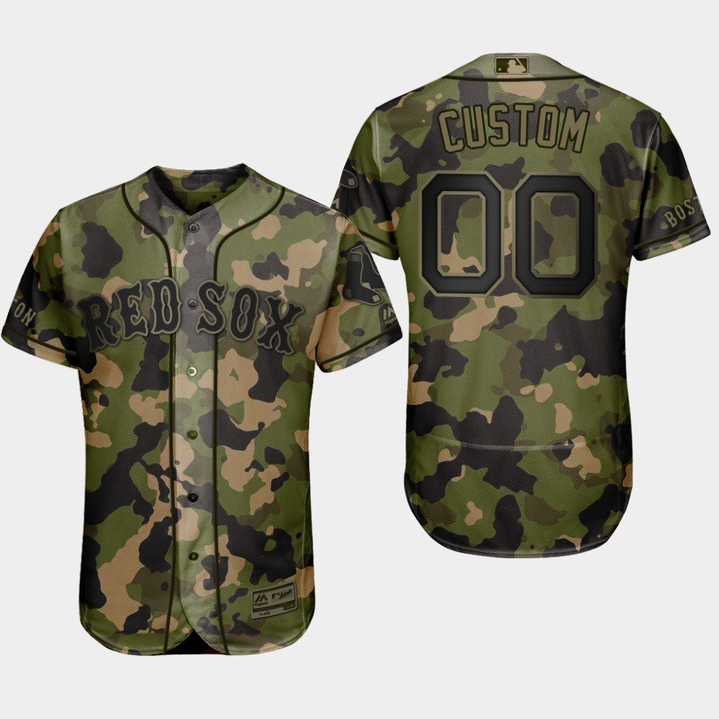 Red Sox Green Custom Memorial Day Flex Base Jersey