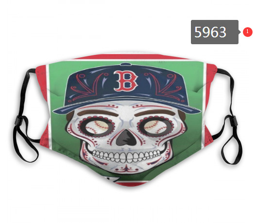 Red Sox Skull Mask with PM2.5 Filter Double Protection    (2)