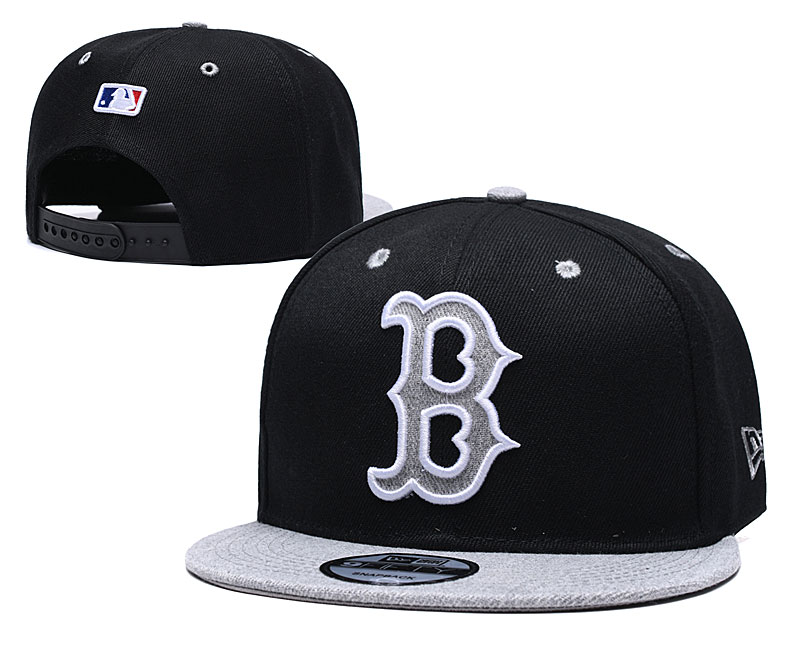 Red Sox Team Logo Black Gray Adjustable Hat TX