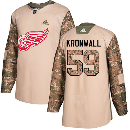 Red Wings #59 Niklas Kronwall Camo Authentic 2017 Veterans Day Stitched Hockey Jersey