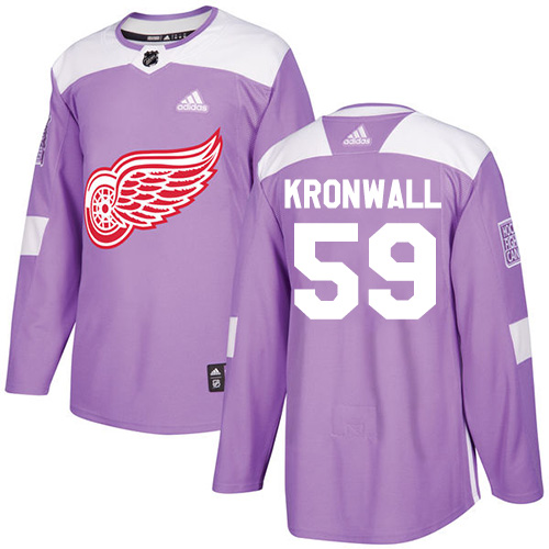Red Wings #59 Niklas Kronwall Purple Authentic Fights Cancer Stitched Hockey Jersey