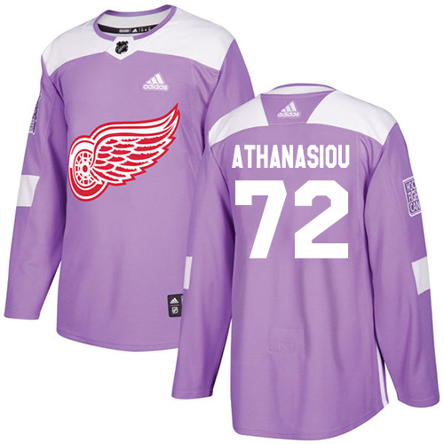 Red Wings #72 Andreas Athanasiou Purple Authentic Fights Cancer Stitched Hockey Jersey
