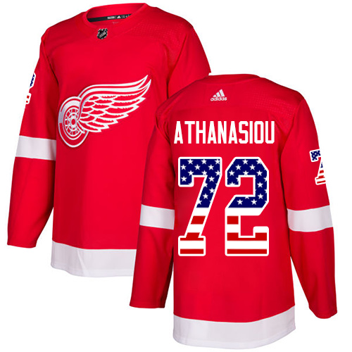 Red Wings #72 Andreas Athanasiou Red Home Authentic USA Flag Stitched Hockey Jersey