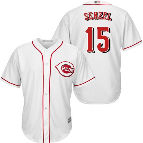 Reds #15 Nick Senzel White New Cool Base Stitched Baseball Jersey