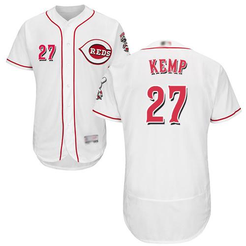 Reds #27 Matt Kemp White Flexbase Authentic Collection Stitched Baseball Jersey
