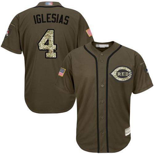 Reds #4 Jose Iglesias Green Salute to Service Stitched Baseball Jersey
