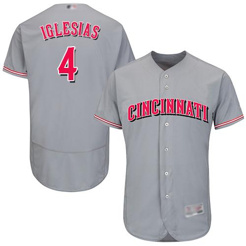 Reds #4 Jose Iglesias Grey Flexbase Authentic Collection Stitched Baseball Jersey