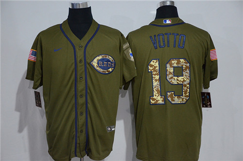 Reds 19 Joey Votto Olive 2020 Nike Cool Base Jersey