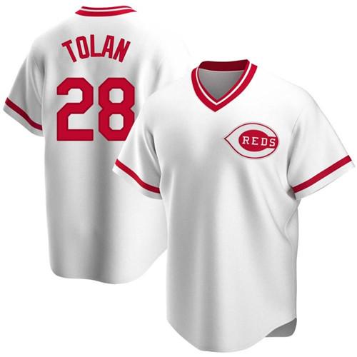 Reds 8 Bobby Tolan White Throwback Cool Base Jersey