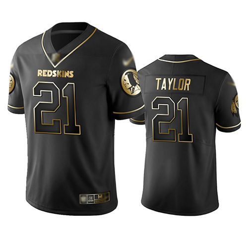 Redskins #21 Sean Taylor Black Men's Stitched Football Limited Golden Edition Jersey