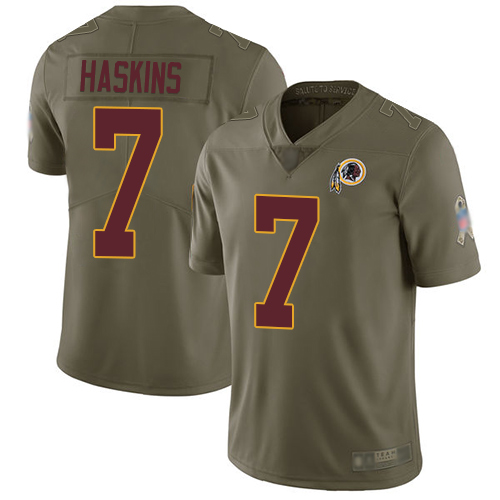 Redskins #7 Dwayne Haskins Olive Youth Stitched Football Limited 2017 Salute to Service Jersey