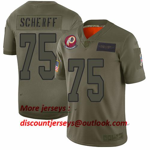 Redskins #75 Brandon Scherff Camo Men's Stitched Football Limited 2019 Salute To Service Jersey