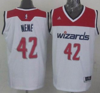 Revolution 30 Washington Wizards #42 Nene White Stitched NBA Jersey