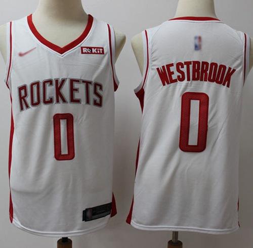 Rockets #0 Russell Westbrook White Basketball Swingman Association Edition 2019 2020 Jersey