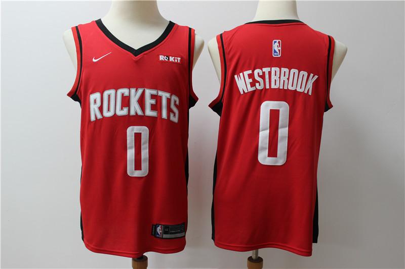 Rockets 0 Russell Westbrook Red Nike Swingman Jersey