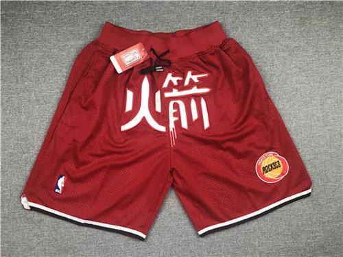 Rockets Red Just Don With Pocket Hardwood Classics Shorts