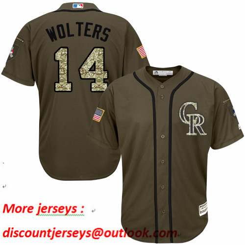 Rockies #14 Tony Wolters Green Salute to Service Stitched Baseball Jersey