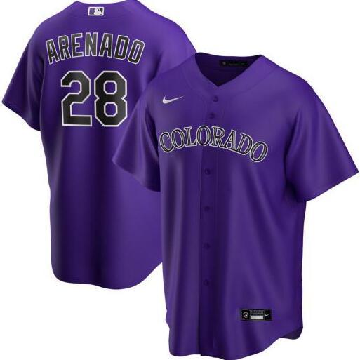 Rockies 28 Nolan Arenado Purple 2020 Nike Cool Base Jersey