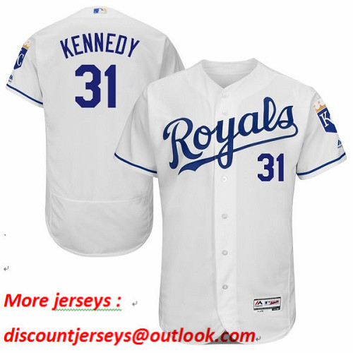Royals #31 Ian Kennedy White Flexbase Authentic Collection Stitched Baseball Jersey