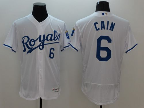 finest selection 653aa 537c3 Royals #6 Lorenzo Cain White Flexbase Authentic Collection ...