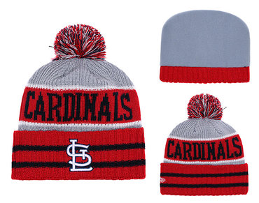 SL Cardinals Red Banner Block Cuffed Knit Hat With Pom YD