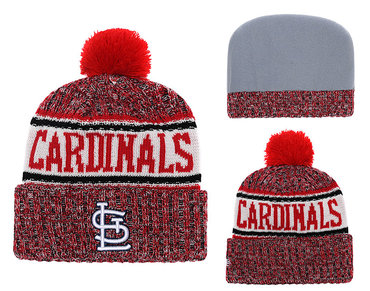 SL Cardinals Team Logo Red Cuffed Knit Hat With Pom YD
