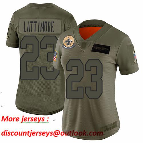 Saints #23 Marshon Lattimore Camo Women's Stitched Football Limited 2019 Salute to Service Jersey