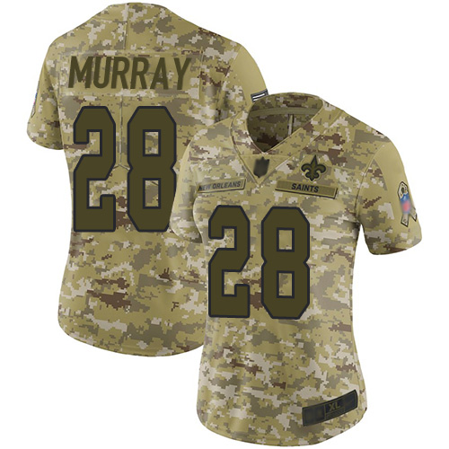 Saints #28 Latavius Murray Camo Women's Stitched Football Limited 2018 Salute to Service Jersey