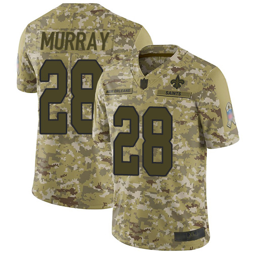 Saints #28 Latavius Murray Camo Youth Stitched Football Limited 2018 Salute to Service Jersey