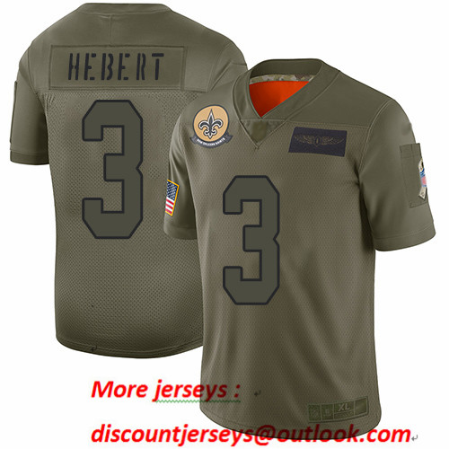 Saints #3 Bobby Hebert Camo Men's Stitched Football Limited 2019 Salute To Service Jersey
