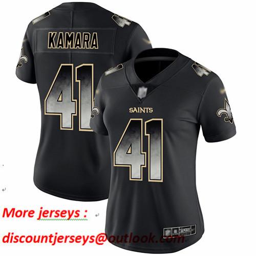 Saints #41 Alvin Kamara Black Women's Stitched Football Vapor Untouchable Limited Smoke Fashion Jersey