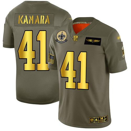 Saints #41 Alvin Kamara Camo Gold Men's Stitched Football Limited 2019 Salute To Service Jersey
