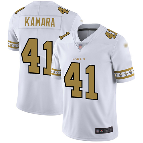 Saints #41 Alvin Kamara White Men's Stitched Football Limited Team Logo Fashion Jersey