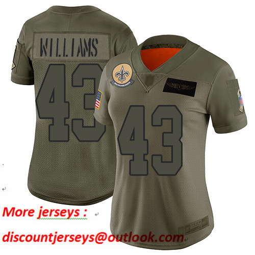 Saints #43 Marcus Williams Camo Women's Stitched Football Limited 2019 Salute to Service Jersey
