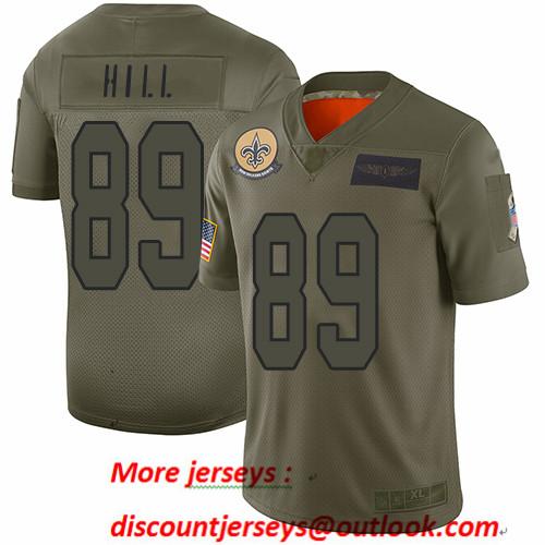 Saints #89 Josh Hill Camo Men's Stitched Football Limited 2019 Salute To Service Jersey
