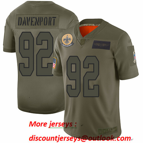 Saints #92 Marcus Davenport Camo Men's Stitched Football Limited 2019 Salute To Service Jersey