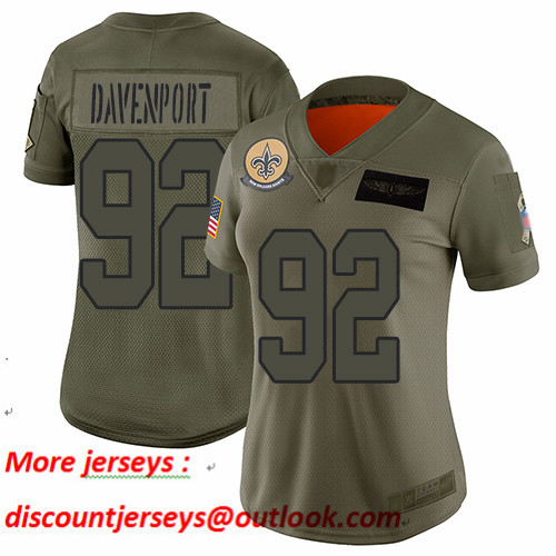 Saints #92 Marcus Davenport Camo Women's Stitched Football Limited 2019 Salute to Service Jersey