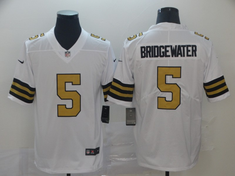 Saints 5 Teddy Bridgewater White Color Rush Limited Jesey