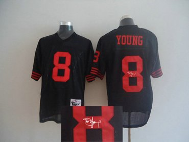 new product 1d92b d19a9 San Francisco 49ers 8 Steve Young Mitchell and Ness Black ...
